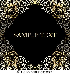 Abstract calligraphic retro luxury golden swirl corner frame with place for text.