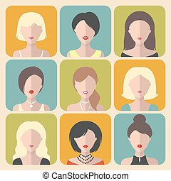 Vector set of different women app icons in flat style.