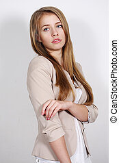 Portrait long-haired blonde woman