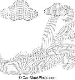 Sky with clouds bonnet vector - Sky with clouds in the form...