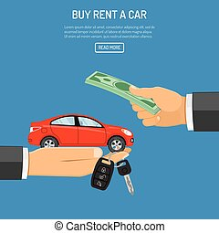 purchase or rental car - buy or rental car concept with flat...