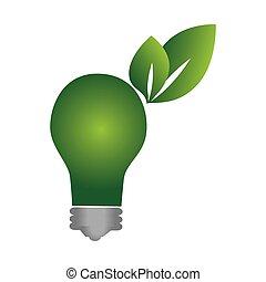 green background with eco light bulb