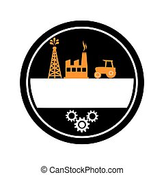 oval border with background silhouette oil extraction machine with factory radioactive materials