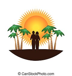 color silhouette with tropical landscape