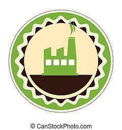 circular emblem of factory and smoke contamination vector...