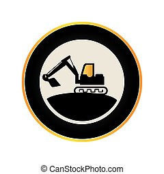 color circular road sign with backhoe vector illustration