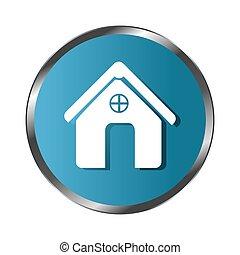 circular border button silhouette simple facade house icon...