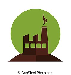 color silhouette with factory and smoke contamination vector...