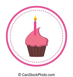 color circular frame with cupcake and candle