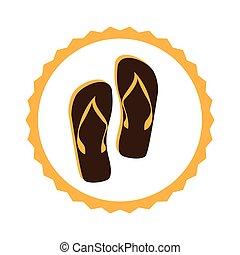 color circular frame with beach flip-flops vector...