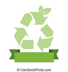 opaque green background with recycling symbol and ribbon...