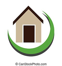 half arch with simple house icon design vector illustration