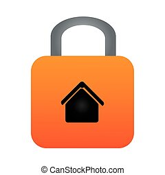 colorful padlock with silhouette house inside