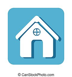 square button simple facade house icon design vector...