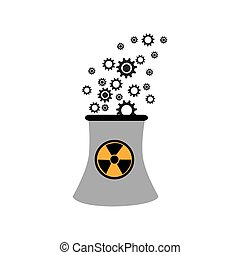 monochorme silhouette nuclear reactor with hazard symbol...