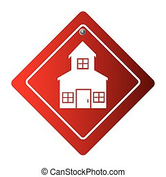 diamond road sign with silhouette two floors house