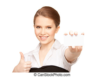 woman with business card - picture of woman with business...