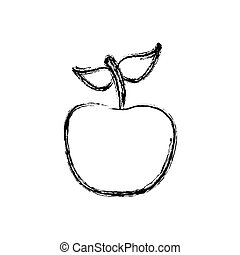 contour apple fruit icon stock