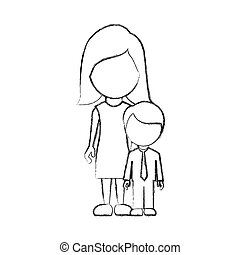 figure woman with her son, vector illustraction design