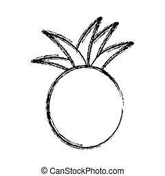 contour pineapple fruit icon stock