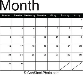 Basis for a monthly calendar in black and white, vector...