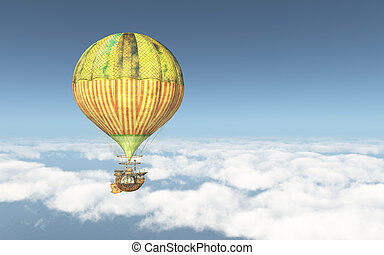Fantasy hot air balloon above the clouds - Computer...