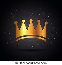 Vector Golden Crown on a Black Background