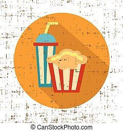 Carton bowl full of popcorn and paper glass of drink, screen texture vector