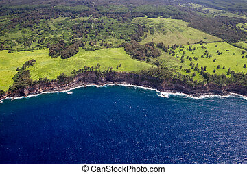 East Coast of Big Island - Aerial view over the East Coast...