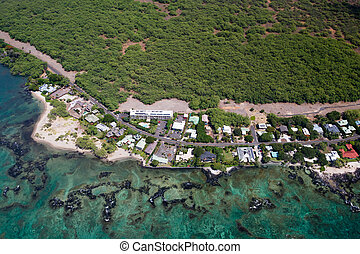 Puako, Big Island, Hawaii - Aerial view of the small town...