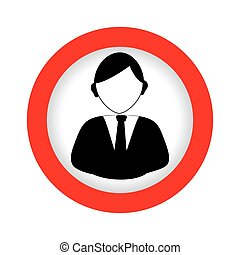 circular emblem with half body man in formal suit