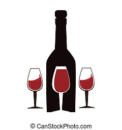background wine bottle and glass cups