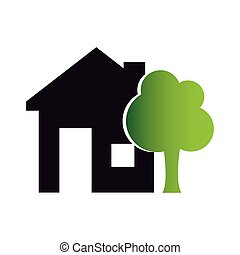 colors silhouette of house with exterior tree