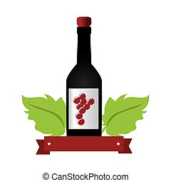 wine bottle with cork and grapes leaves and ribbon