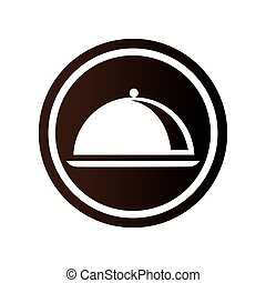 monochrome circular emblem with cloche icon vector...