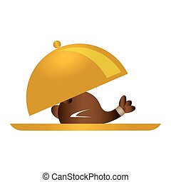 color silhouette with roast chicken in cloche vector...