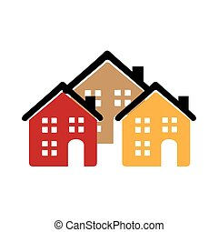 color silhouette with group of houses