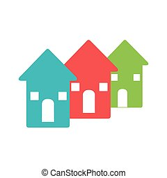 color pictogram with set of houses