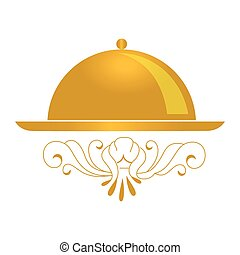 golden color background with cloche icon vector illustration
