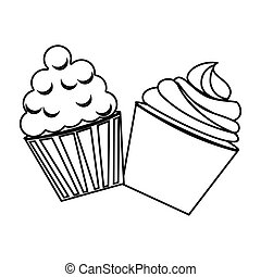 silhouette cream cupcakes set icon food