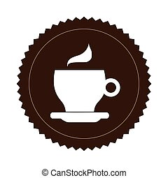 brown seal sticker with silhouette coffee cup