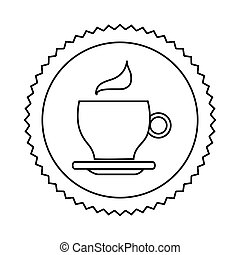 silhouette seal sticker with silhouette coffee cup