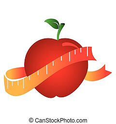 silhouette color with apple and measuring tape vector...