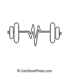 contour sketch dumbbell with symbol life vector illustration