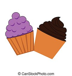 colorful cream cupcakes set icon food
