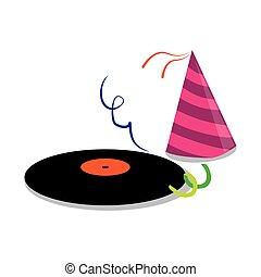 color silhouette with vinyl lp and party hat vector...