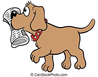 Brown labrador dog brings a newspaper in his mouth . Eps 10 vector illustration