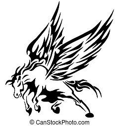 Cognac, tattoos,wing, wing,black,Eps 10 vector illustration...