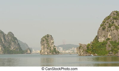 Landscape of the city of Ha Long Bay to the mountains.