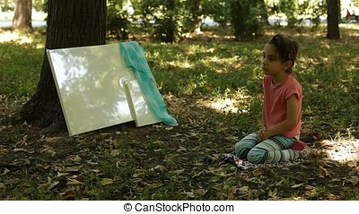 Little Girl Canvas and Veil in Forest
